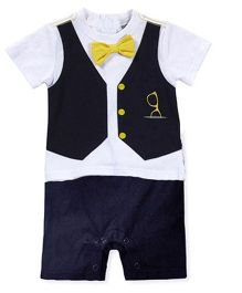 Teddy Guppies Short Sleeves Romper Bow Applique - Royal Blue White