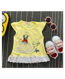 Teddy Guppies Short Sleeves Frock With Lacy Gown - Yellow