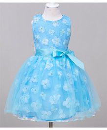 Teddy Guppies Sleeveless Delicate Flowers Design Party Wear Frock - Blue
