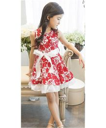 Teddy Guppies Sleeveless Floral Printed Frock With Belt - Red & White
