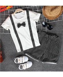 Teddy Guppies Half Sleeves T-Shirt And Striped Short Set - White & Black