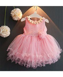 Teddy Guppies Sleeveless Frilly Party Wear Frock - Fairy Pink