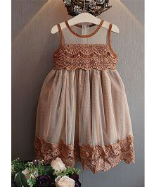 Teddy Guppies Sleeveless Lacy Partywear Frock - Brown