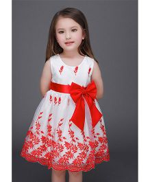 Teddy Guppies Sleeveless Partywear Frock With Bow - Red & White