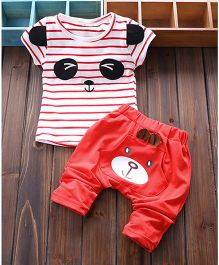 Teddy Guppies Half Sleeves T-shirt With Pant - Red And White