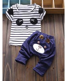 Teddy Guppies Half Sleeves T-shirt With Pant - Blue And White