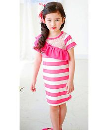 Teddy Guppies Short Sleeves Frock With Frill - Pink