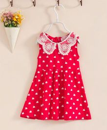 Teddy Guppies Sleeveless Frock Swan Print - Red