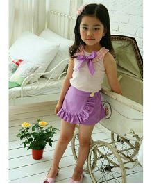 Teddy Guppies Sleeveless Top With Shorts - Pink And Purple