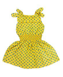 Teddy Guppies Frock With Polka Dots - Yellow
