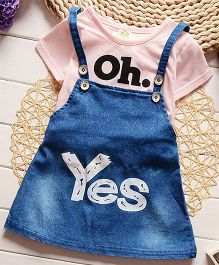 Teddy Guppies Dungaree Style Frock With Top - Pink Blue