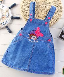 Teddy Guppies Dungaree Style Frock Butterfly Embroidery - Blue