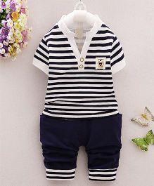 Teddy Guppies Half Sleeves Stripe T-Shirt And Bottoms - Black White Navy