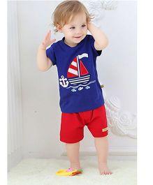 Teddy Guppies Half Sleeves T-Shirt And Shorts Ship Print - Royal Blue Red