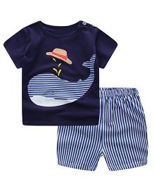 Teddy Guppies Half Sleeves T-Shirt And Stripe Shorts Whale Print - Dark Blue White