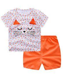 Teddy Guppies Short Sleeves T-Shirt And Shorts Cat Print - White Orange