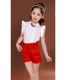 Teddy Guppies Flutter Sleeves Top And Shorts - White Red