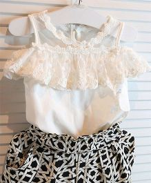 Teddy Guppies Cold Shoulder Lacy Top And Pants Printed - Black White