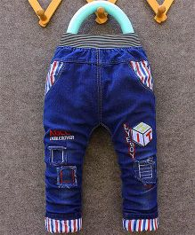 Teddy Guppies Full Length Jeans With Patch Work And Embroidery - Blue