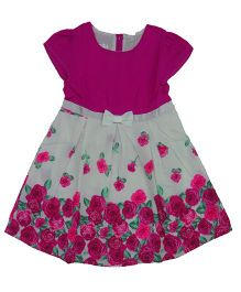 Teddy Guppies Cap Sleeves Floral Print Frock With Bow Applique - Magenta White