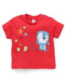 Zero Half Sleeves Lion & Bird Printed T-Shirt - Red