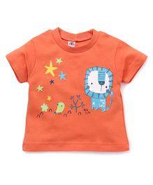 Zero Half Sleeves Lion & Bird Printed T-Shirt - Orange