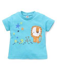 Zero Half Sleeves Lion & Bird Printed T-Shirt - Blue