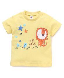 Zero Half Sleeves Lion & Bird Printed T-Shirt - Yellow