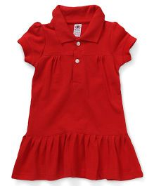 Zero Half Sleeves Collar Frock Solid Color - Red