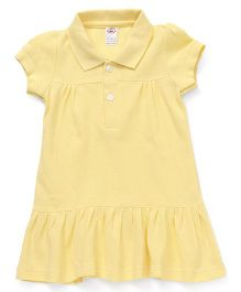Zero Half Sleeves Collar Frock Solid Color - Yellow