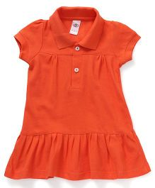 Zero Half Sleeves Collar Frock Solid Color - Orange