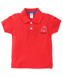 Zero Half Sleeves Polo Neck T-Shirt With Embroidery - Red