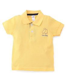 Zero Half Sleeves Polo Neck T-Shirt With Embroidery - Yellow