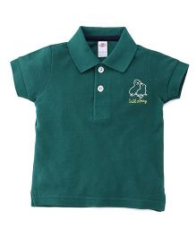 Zero Half Sleeves Polo Neck T-Shirt With Embroidery - Dark Green