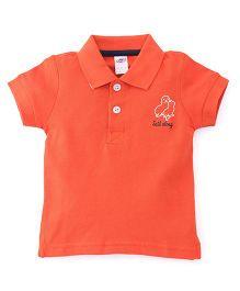 Zero Half Sleeves Polo Neck T-Shirt With Embroidery - Orange