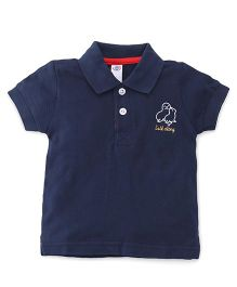 Zero Half Sleeves Polo Neck T-Shirt With Embroidery - Navy