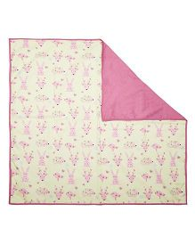 A Little Fable Dohar Bunny Print - Pink Off White