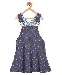 My Lil Berry Sleeveless Dungaree Dress Heart Print - Blue