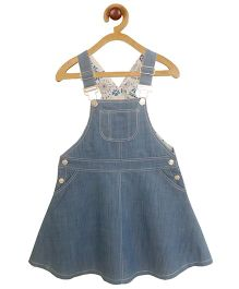 My Lil Berry Sleeveless Dungaree Dress With Pocket - Light Blue