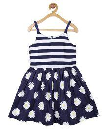 My Lil Berry Singlet Stripe And Daisy Print Dress - Blue & White