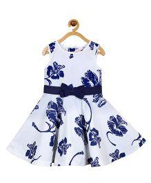 My Lil Berry Sleeveless Floral Princess Dress - White & Blue
