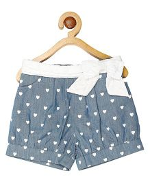 My Lil Berry Lace Bow Accented Bubble Shorts - Light Blue & White