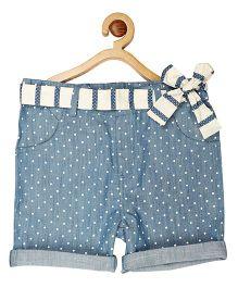 My Lil Berry Belted Denim Midi Shorts - Light Blue & White