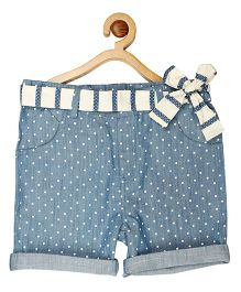 My Lil Berry Belted Denim Midi Shorts - Light Blue & White
