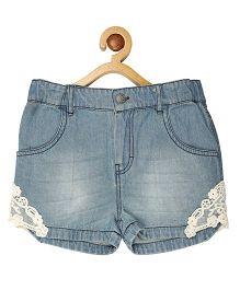 My Lil'Berry Lace Accent Denim Shorts - Light Blue