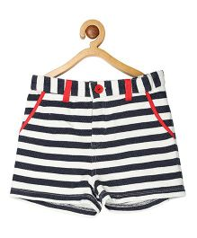 My Lil Berry Striped Terry Shorts - White & Blue