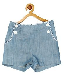 My Lil Berry Denim Sailors Shorts - Light Blue