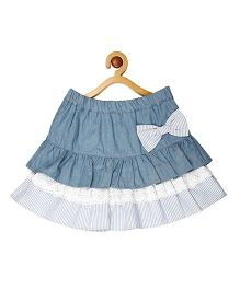 My Lil Berry Ruffled Denim And Lace Skirt - Light Blue