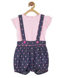My Lil Berry Denim Dungaree With Stripes Inner Top - Blue Pink
