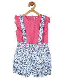My Lil Berry Printed Dungaree With Lace Inner Top  - Blue Pink